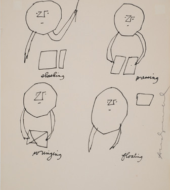 Untitled (Slashing Pressing), 1955-67 ink on paper, signed 11 x 8.5 inches