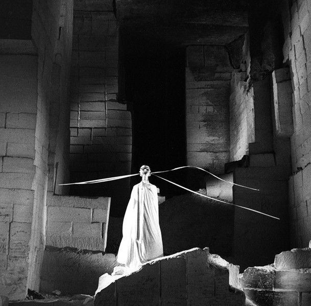 Lucien Clergue [1934-2014]  The Oracle on the set of Testament of Orpheus, Les Baux de Provence  photo 1959 [printed later]  gelatin silver print, edition of 30 PF, signed  Paper Size: 15.25 x 11.5 inches   38.7 x 29.2 cm Image Size: 11 x 10.5 inches   27.9 x 26.7 cm