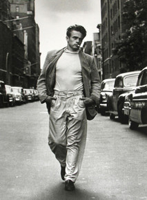James Dean models down 68th Street in New York City