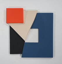 Tridimensional painting of a square split in 4 fragments (navy blue, black, beige, red)