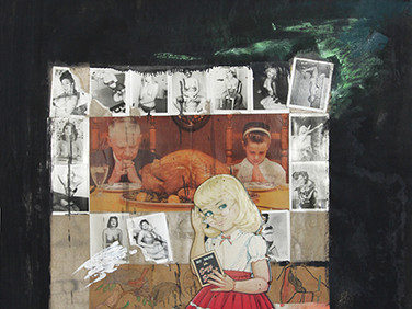 Boris Lurie (1924-2008)  Untitled (Suzy Sweet), 1963 paint, paper, and photos on canvas  51 x 43 inches