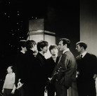 The Beatles with manager Brian Epstein at the Ed Sullivan Show  February 1964  vintage gelatin silver print image size > 11 x 7.25 inches  Photograph by Hatami (1928-2017)