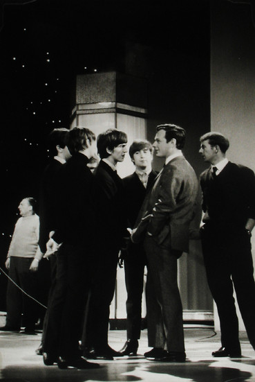 The Beatles with manager Brian Epstein at the Ed Sullivan Show, February 1964 vintage gelatin silver print Image Size: 11 x 7.25 inches   27.9 x 18.4 cm  Photography by Hatami (1928-2017)