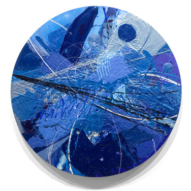 James Hendricks  Axis of Blue  acrylic, acrylic gels on shaped canvas, 61 inches diameter