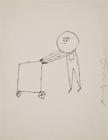 Untitled (Cart 1), circa 1950s ink on paper, signed 11 x 8.5 inches