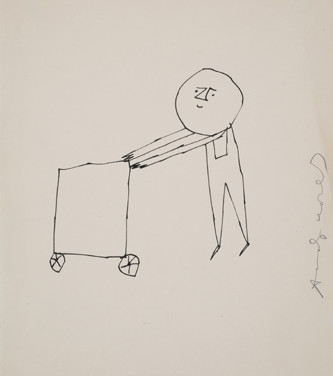 Untitled (Cart 1), 1955-67 ink on paper, signed 11 x 8.5 inches
