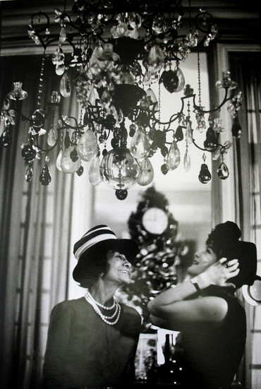 Coco Chanel and Romy Schneider, House of Chanel, rue Cambon, Paris Photograph circa 1960s (printed later) gelatin silver print, AP, signed Image Size: 14.5 x 9.5 inches   36.8 x 24.1 cm Paper Size: 16 x 12 inches   40.6 x 30.5 cm  Photograph by Hatami (1928-2017)