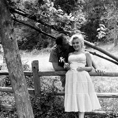 Sam Shaw [1912-1999]  Marilyn Monroe with Arthur Miller, Roxbury, CT  photo 1957 [printed later] gelatin silver print, AP, stamped by the Estate paper size > 19 x 15 inches