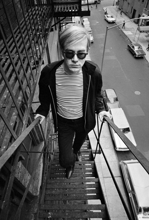 BOB ADELMAN (1930-2016) Andy Warhol on the fire escape of the Factory photograph 1965 [printed later] archival pigment print, AP, signed Paper Size: 22 x 14 inches | 55.9 x 35.6 cm