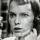 """Photograph by Hatami (1928-2017) Mia Farrow practicing a tense scene, on the set of """"Rosemary's Baby"""" photograph 1968 vintage gelatin silver print, signed, stamped 8 x 10 inches"""