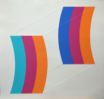 Print of 2 curve sections back-to-back, each made from 3 color strips, light blue, dark blue, orange, burgundy