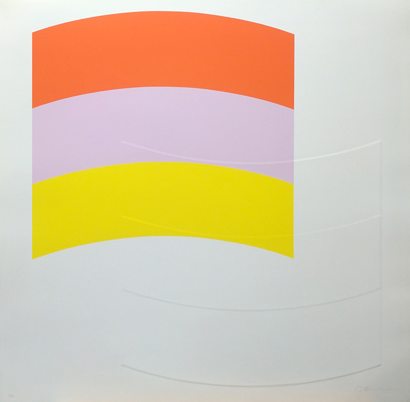 CHARLES HINMAN Upper Left Curve, 1970  silkscreen on embossed paper, edition of 90, signed Paper Size: 26 x 26 inches | 66.0 x 66.0 cm Unframed