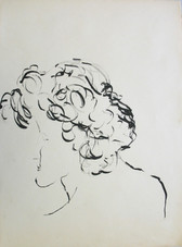Ink drawing of the head and shoulders of a curly man in profile