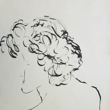 James Juthstrom (1925-2007)  Untitled (profile), circa 1950s  Ink on paper, 22 x 17 inches