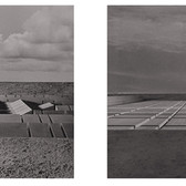 WILL INSLEY (1929-2011) /Buildings/ No. 19-20 Interior Building Corridor of Life Gate – view from the air and ground, 1970-72 vintage photomontage, 12 x 12 inches each