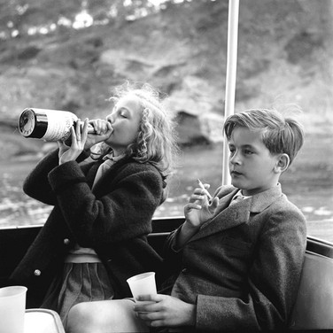 Princess Marianne Sayn-Wittgenstein-Sayn  Yvonne and Alexander Sayn-Wittgenstein on board Bartholomé March's yacht, Majorca, Spain photo 1954 [printed later] Lambda print on Fuji Crystal paper, edition of 10, signed, 22 x 22 inches