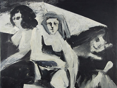 Boris Lurie (1924-2008)  Untitled (Three Women #1), 1958-59  collage, oil paint on paper mounted on board  43 x 45.5 inches
