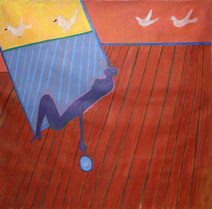 Acrylic on canvas of a red interior, a blue silhouette laying down and birds in the background