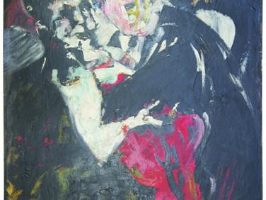 Boris Lurie (1924-2008)  Dancehall Series, c.1959  oil on canvas  50 x 38 inches