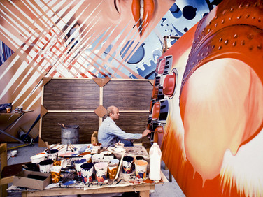 "BOB ADELMAN (1930-2016)  James Rosenquist in his studio, working on the painting, ""Fahrenheit 1982"", currently in the collection of MOMA.  In the background, ""Four New Clear Women""  photograph 1981 (printed later)  archival pigment print, 1/20, signed  paper size > 22 x 14.5 inches"