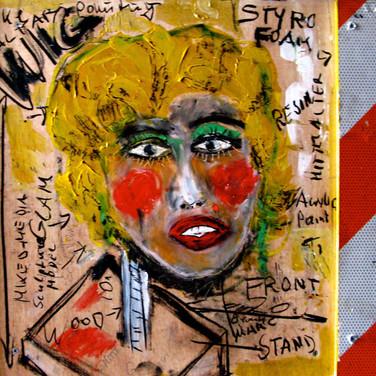 Wulf Treu  American Madonna  mixed media & resin on wood,  20 x 35 x 1 inches