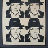 Andy Warhol  Joseph Beuys, circa 1980-85  screenprint on newsprint on linen, unique  unframed size > 47 x 35.25 inches  stamped with the artist's copyright stamp bottom right. Authenticated by Andy Warhol Art Authentication Board