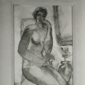 Leo Matiz (1917-1998) Photograph of a painting by Fernando Botero, Nude with Canvas and Chair, Colombia photo 1951 [printed later] selenium toned gelatin silver print, edition of 30, stamped 16 x 12 inches