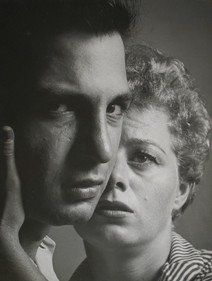 """Shelley Winters holds Ben Gazzara while acting in """"A Hatful of Rain,"""" 1955"""