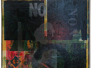 Boris Lurie (1924-2008)  NO Poster, 1963 paint and offset print on wastepaper mounted on canvas  34 x 19 inches