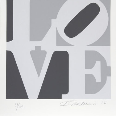 Robert Indiana  The Book of Love 4, 1996  serigraph, edition of 200, signed and numbered  18 x 18 inches