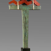 Jeffrey Maron  Approaching Kether, 1986  unique oxidized bronze,  96 x 40 x 18 inches