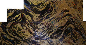 Modular painting with waves and swirls of dark purple and gold