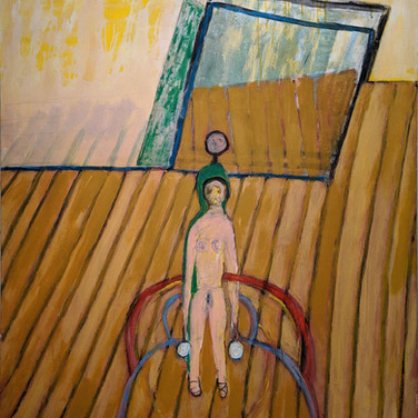 James Juthstrom (1925-2007) Untitled (Yellow Interior I)  circa mid-1990s acrylic on canvas,  58 x 50 inches