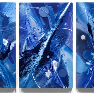 James Hendricks  Blue Triptych  acrylic, acrylic gels on canvas,  40 x 30 inches each