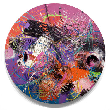 James Hendricks  Global Dialogue  acrylic, acrylic gels on shaped canvas,  73 inches diameter