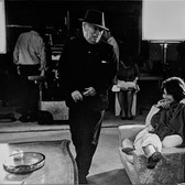 """Photograph by Hatami (1928-2017) Sophia Loren and Charlie Chaplin on the set of """"A Countess from Hong Kong,"""" Pinewood Studios, Buckinghamshire photograph 1966 vintage gelatin silver print, signed, stamped 9.5 x 14.5 inches"""