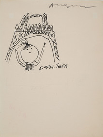 Untitled (Eiffel Tower), circa 1950s ink on paper, signed 11 x 8.5 inches