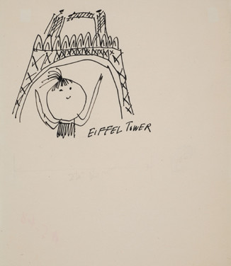 Untitled (Eiffel Tower), 1955-67 ink on paper, signed 11 x 8.5 inches