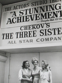 Shirley Knight, Geraldine Page and Kim Stanley in front of The Actors Studio Theatre in New York City, 1953