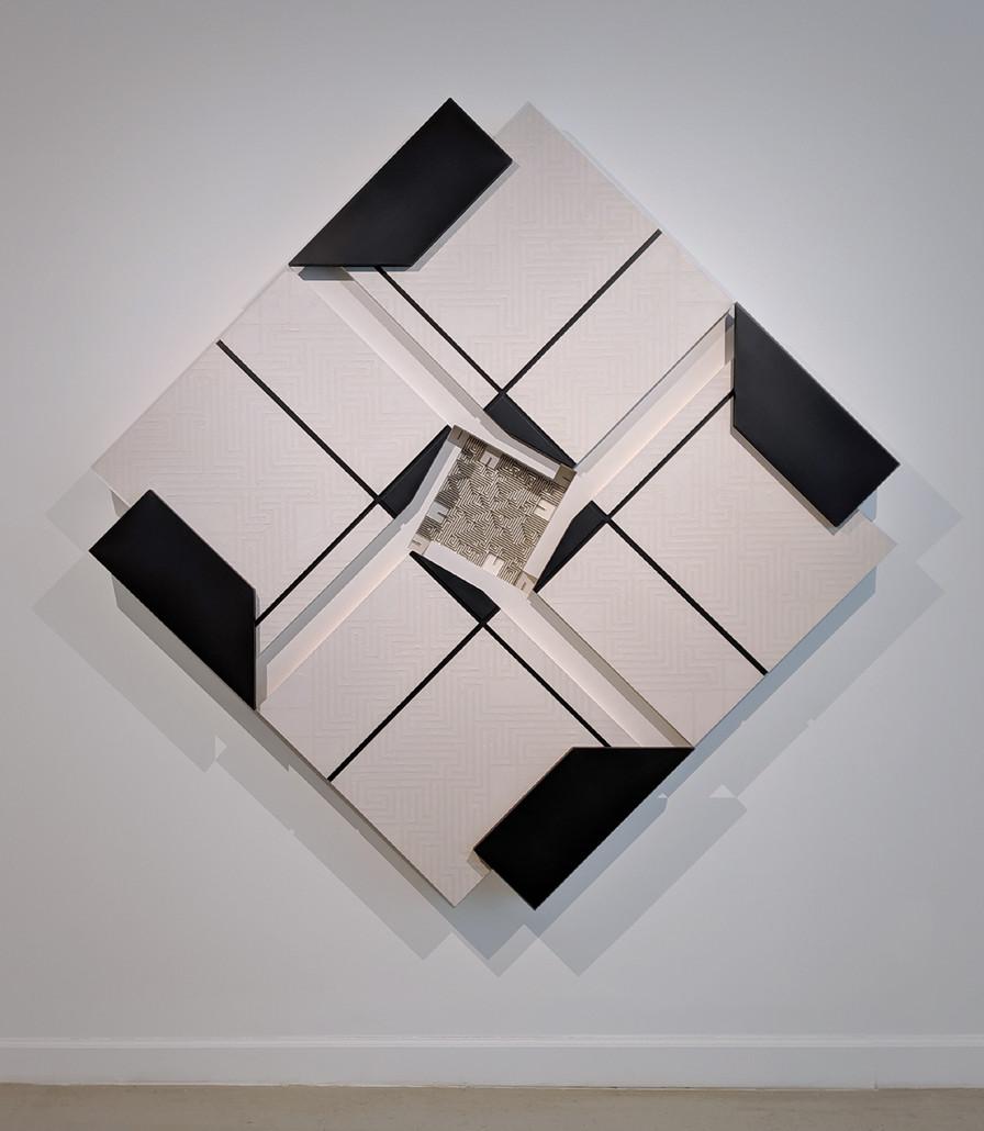ALAN STEELE Stepwell #7, 1987 mixed media, marine enamel, wax emulsion and encaustic, on baltic birch, plywood and balsa wood Artwork: 77 x 77 x 6 inches | 195.6 x 195.6 x 15.2 cm Unique, Unframed