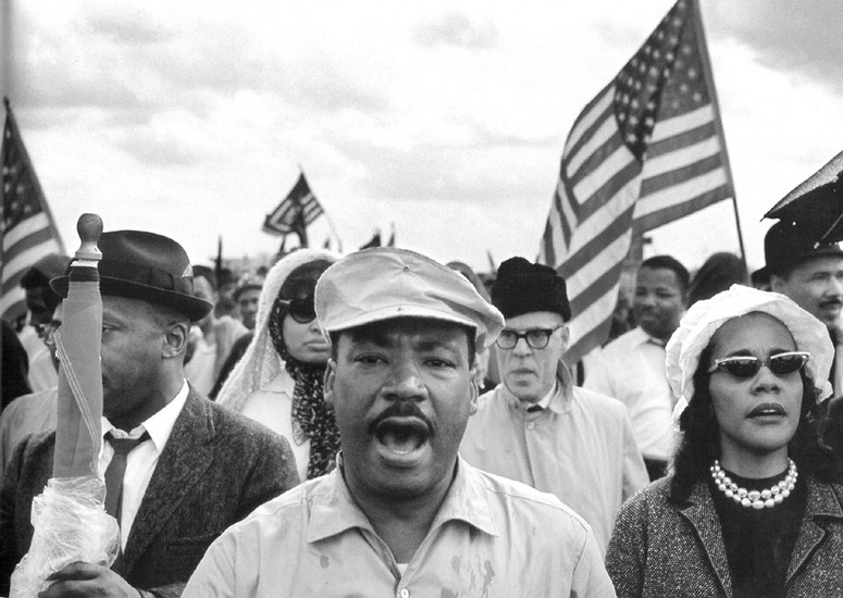 BOB ADELMAN (1930-2016) King and his wife Coretta lead the marchers on Jefferson Davis Highway to Montgomery, Alabama photo 1965 [printed later]  gelatin silver print, edition of 15, signed, numbered  Paper Size: 16 x 20 inches | 40.6 x 50.8 cm