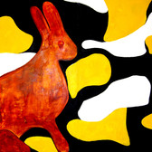 Wulf Treu  Camouflage Bunny  acrylic on canvas,  96 x 80 inches