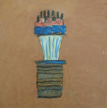 Acrylic on board painting of still life, brushes, household objects, on brown background