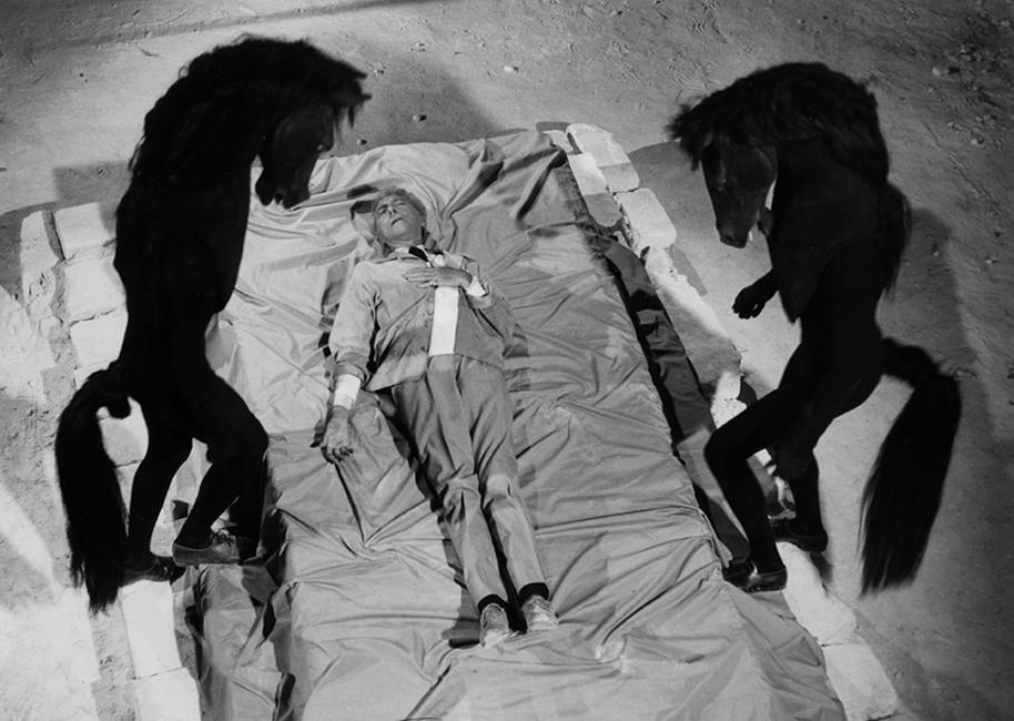 Lucien Clergue [1934-2014] Jean Cocteau, Testament of Orpheus, Les Baux de Provence photo 1959 [printed 1985] gelatin silver print, edition of 30 PF, signed Paper Size: 11.25 x 15 inches   28.6 x 38.1 cm Image Size: 10.25 x 14 inches   26.0 x 35.6 cm