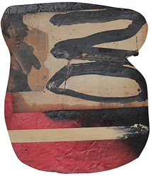 Boris Lurie (1924-2008)  NO, 1963  oil paint and paper collage on cardboard  16.75 x 14.5 inches
