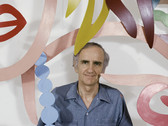 """Bob Adelman (1930-2016) Tom Wesselmann in his 54 Bond Street Studio in 1988 with the cut-out of """"Bedroom Blonde with Necklace' photograph 1988 (printed later) archival pigment print, AP, signed paper size > 11.5 x 17 inches"""