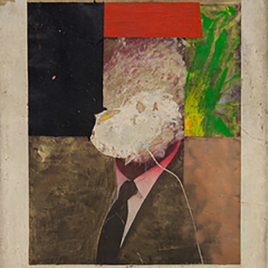 Boris Lurie (1924-2008) Altered Photo (Cabot Lodge), 1963 oil on paper mounted on canvas 46 x 31.5 inches