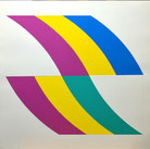 Charles Hinman Curve R Upper, Curve L Lower, 1970  silkscreen on embossed paper, edition of 90, signed 26 x 26 inches