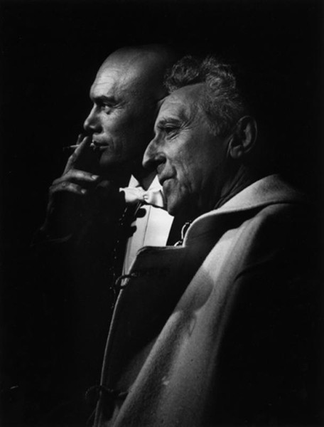 Lucien Clergue [1934-2014]  Yul Brynner and Jean Cocteau on the set of Testament of Orpheus, Les Baux de Provence  photo 1959 [printed later]  gelatin silver print, edition of 30 MF, signed  Paper Size: 15.75 x 11.25 inches   40.0 x 28.6 cm Image Size: 14.5 x 10 inches    36.8 x 25.4 cm