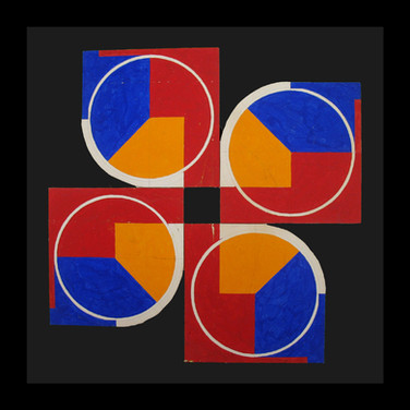 Insley, Will [1929-2011]  Structural Model #6, circa 1950s  acrylic, tempera on board modular work  10 x 10 inches, stamped